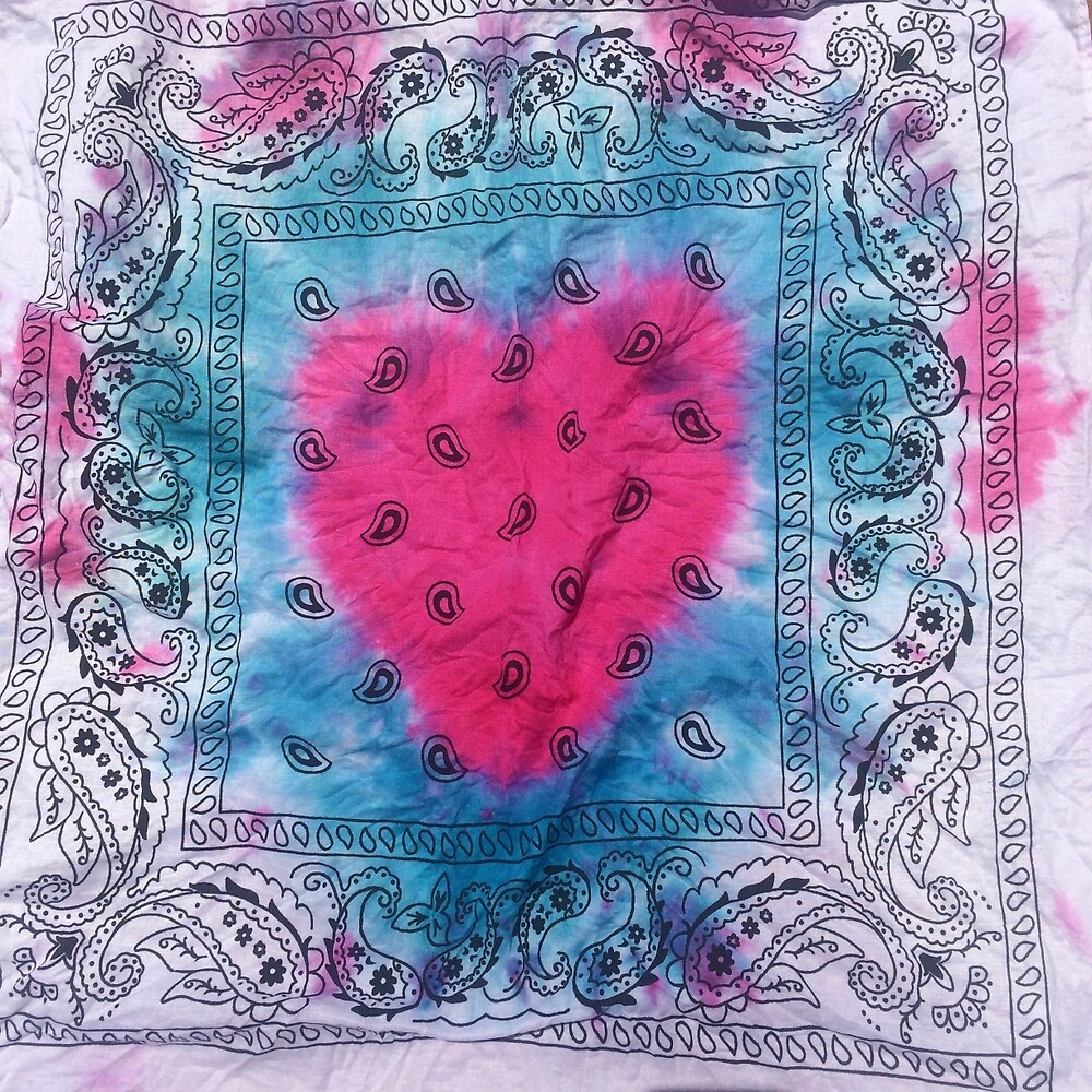 Tie Dye Heart Bandana in Blue, Pink, & White by Dannyella
