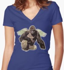 Harambe from above Women's Fitted V-Neck T-Shirt
