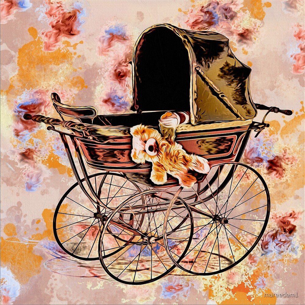 Baby and Teddy in Pram by mareedem1