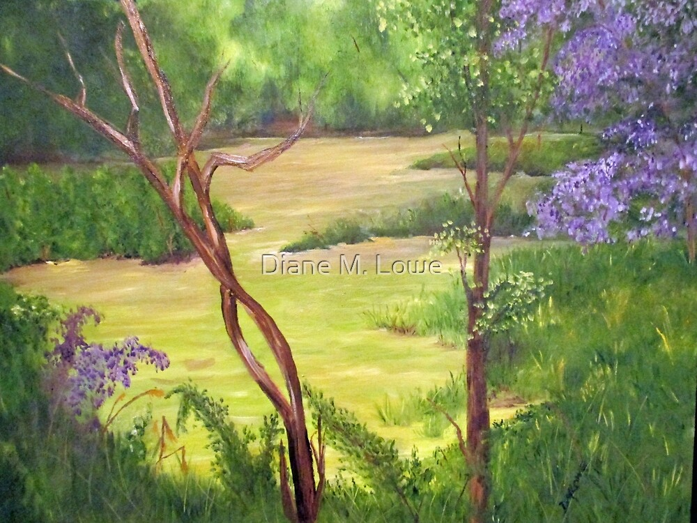 Forest Retreat with Lilacs by Diane M. Lowe