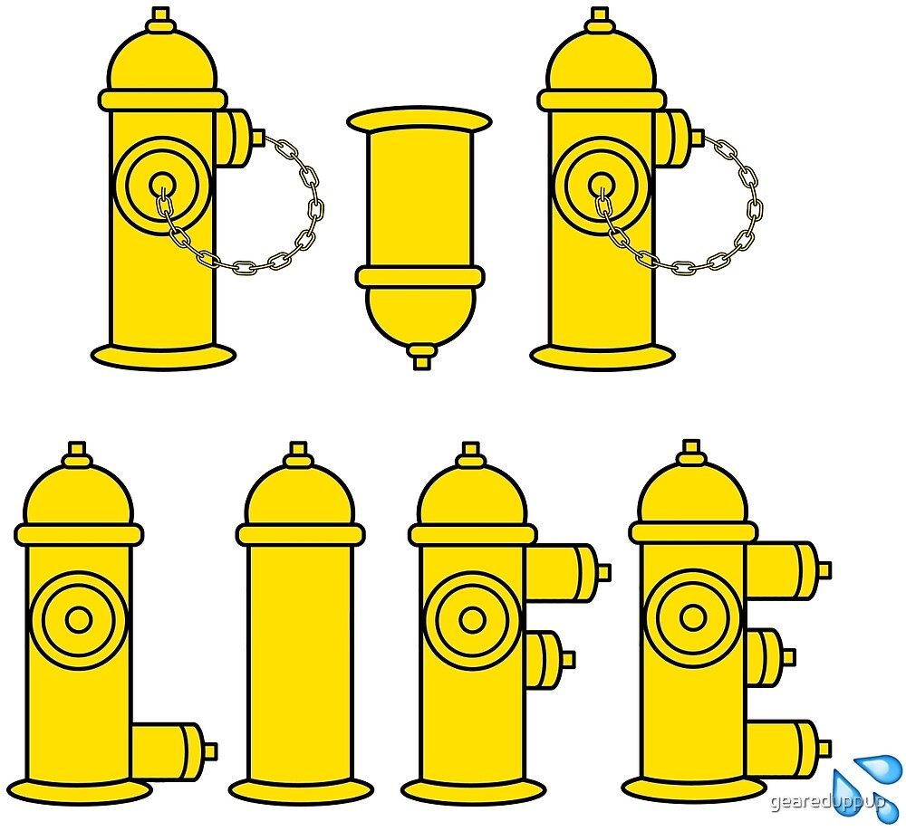 Pup Life - Yellow Fire Hydrants on White Background by geareduppup