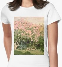 Claude Monet - Lilac In The Sun 1873  Women's Fitted T-Shirt