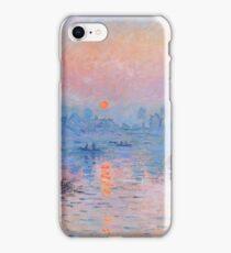 Claude Monet - Sunset On The Seine At Lavacourt Winter Effect 1880 iPhone Case/Skin