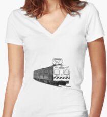 Melbourne Hitachi train Women's Fitted V-Neck T-Shirt