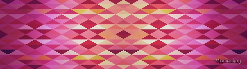 Abstraction #146 Pink and Peach triangles  by Monicakay