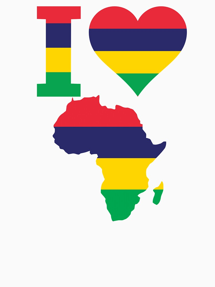 I love Mauritius flag Africa map t-shirt by mamatgaye