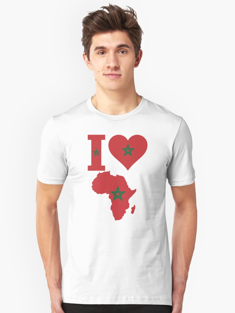 I love Tunisia flag Africa map t-shirt Unisex T-Shirt Front