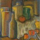 Still Life Green, Yellow and Orange by Karen Gingell