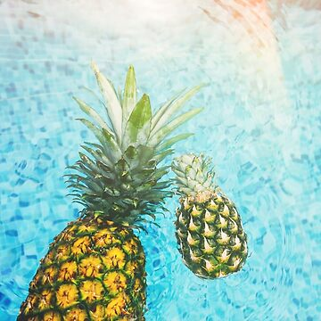 Pineapple floating in pool by obamashirts