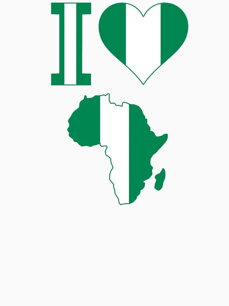 I love Nigeria flag Africa map t-shirt by mamatgaye