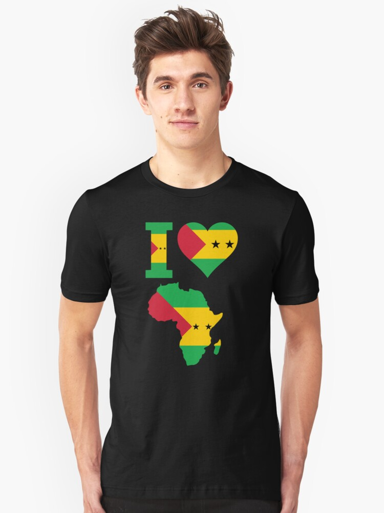 I love Sao Tome flag Africa map t-shirt Unisex T-Shirt Front