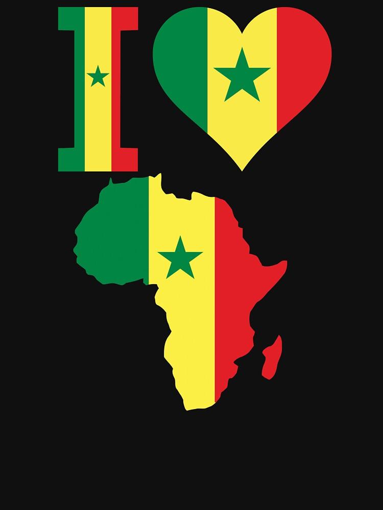 I love Senegal flag Africa map t-shirt by mamatgaye