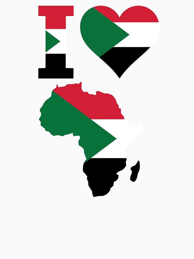 I love Sudan flag Africa map t-shirt by mamatgaye