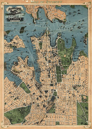 Robinson's Aeroplane map of Sydney, Australia - 1922 by Djidiouf-PD