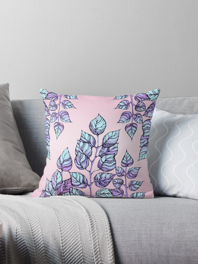 Rose Quartz and Serenity hand drawn and watercolor leaves  by kanvisstyle