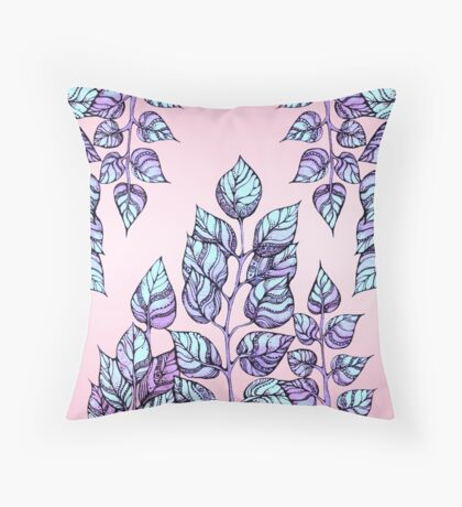 Rose Quartz and Serenity hand drawn and watercolor leaves  Throw Pillow