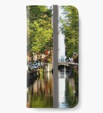 A small-town canal on a summer day iPhone Wallet/Case/Skin