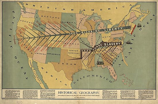 Map of the US, Slavery and Religion - 1888 by Djidiouf-PD