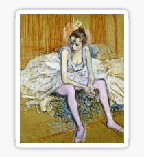 Henri De Toulouse Lautrec -  A Seated Dancer With Pink Stockings  Sticker