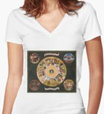 Hieronymus Bosch - The Seven Deadly Sins And The Four Last Things 1485 Women's Fitted V-Neck T-Shirt