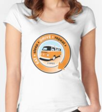 Eat Sleep Drive Repeat orange blue fan Women's Fitted Scoop T-Shirt