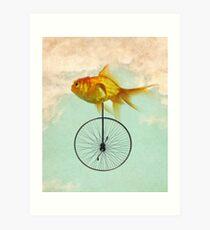 Einrad Goldfisch Kunstdruck