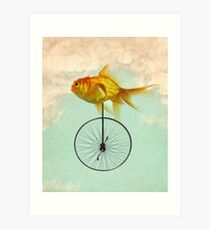 unicycle goldfish Art Print
