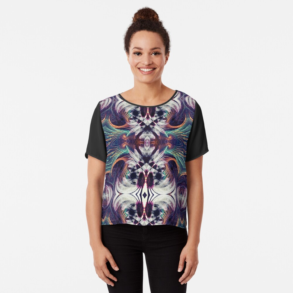 Flowers X Fractals Mix Symmetry Art Women's Chiffon Top Front