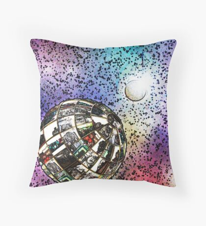 Steam planet in chalk Throw Pillow