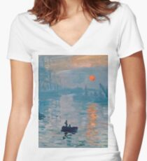 Claude Monet - Impression Sunrise 1872 Women's Fitted V-Neck T-Shirt