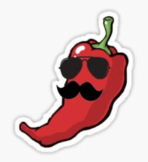 Moustache and Sunglasses Chilli Sticker