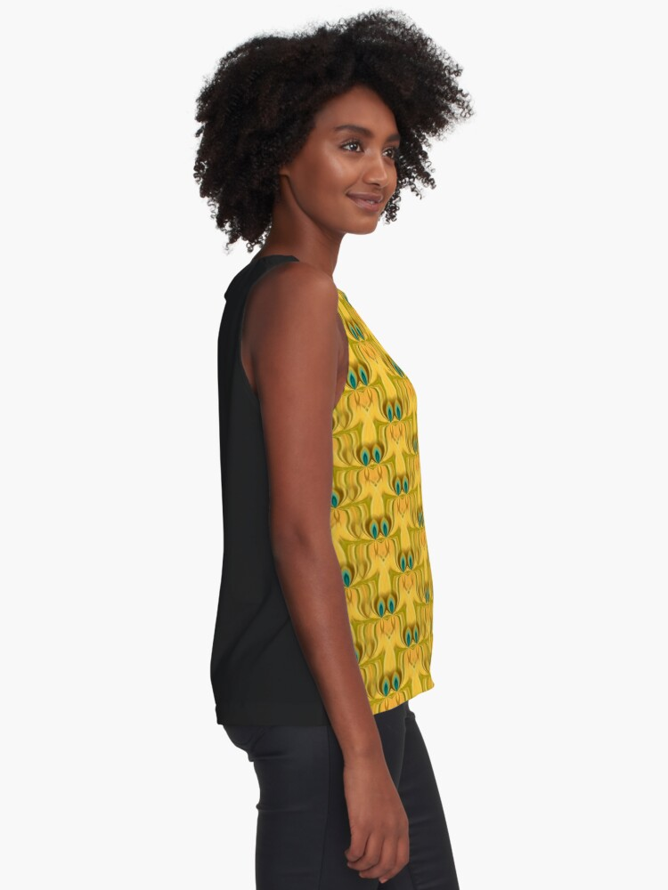 Alternate view of Peacock twin flames pattern Contrast Tank