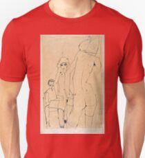 Egon Schiele - Schiele with Nude Model before the Mirror, 1910  Unisex T-Shirt