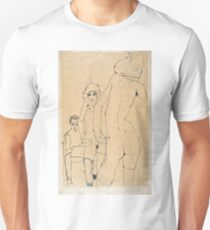 Egon Schiele - Schiele with Nude Model before the Mirror, 1910  Unisex T-Shirt