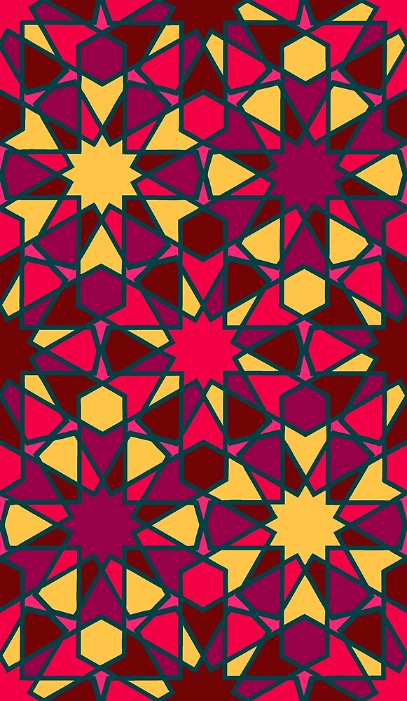 Spanish Director - Al-Nasir Pattern Red with Blue Lines by foxific