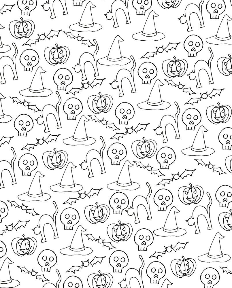 Halloween Doodle Pattern by Hannah Eisner