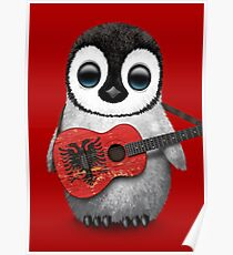 Baby Penguin Playing Albanian Flag Guitar Red Poster