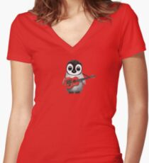 Baby Penguin Playing Albanian Flag Guitar Red Women's Fitted V-Neck T-Shirt