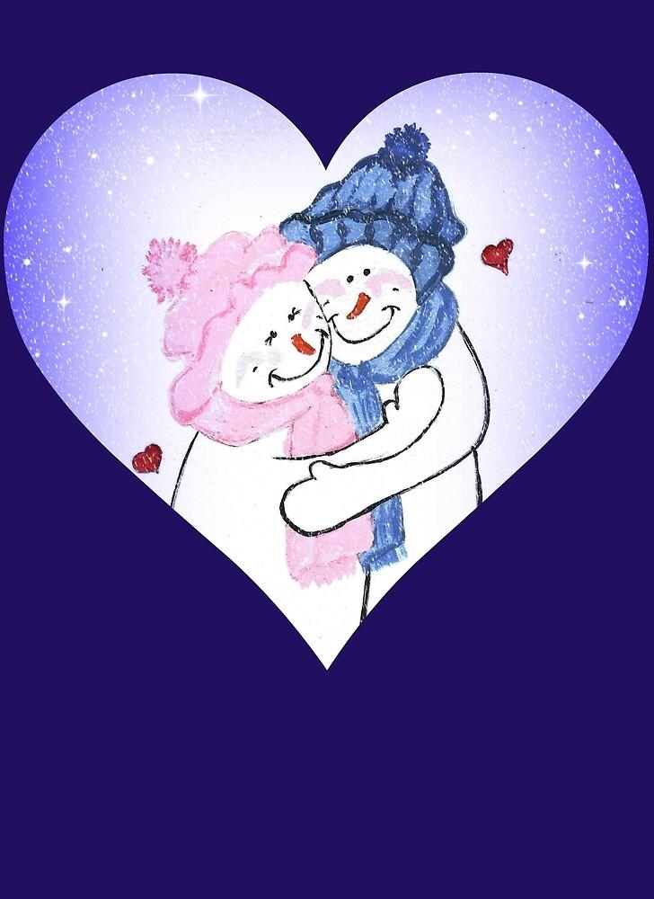 Snowman Couple Heart in Blue by LeonaPaints