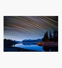 Calm Mountain Lake startrails Photographic Print