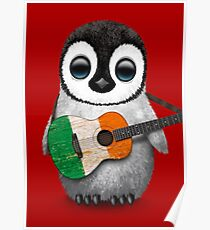 Póster Baby Penguin Playing Irish Flag Guitar Red