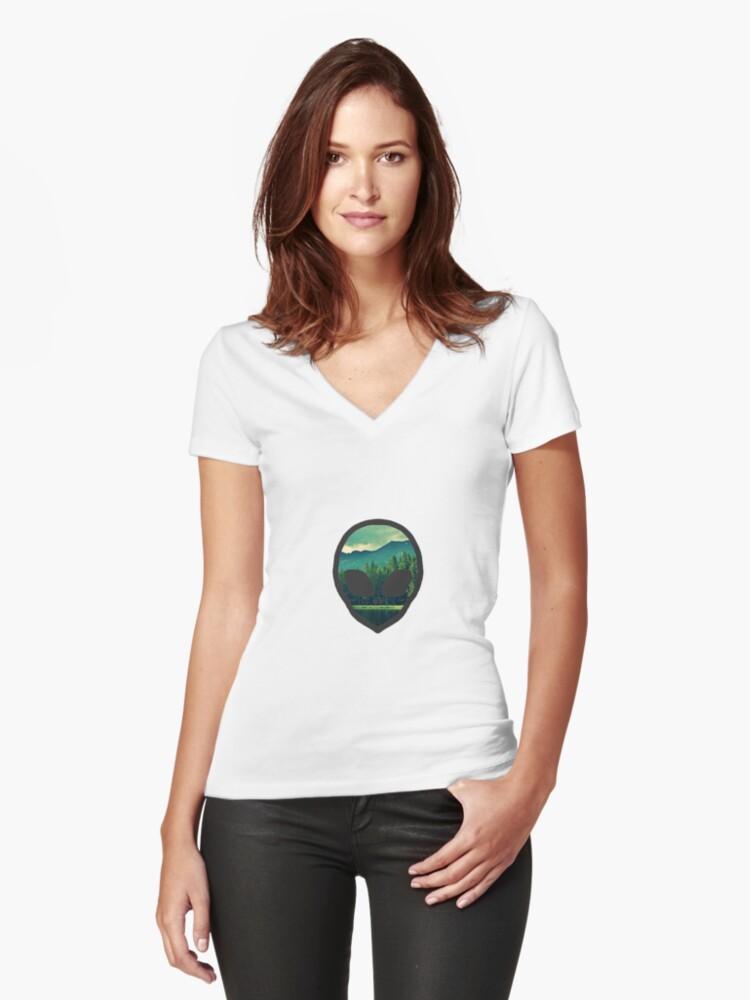 Forest Alien  Women's Fitted V-Neck T-Shirt Front