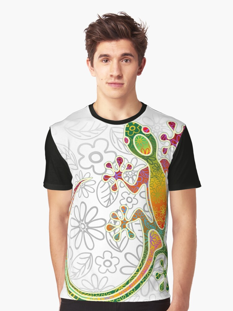 gecko flowers Graphic T-Shirt Front