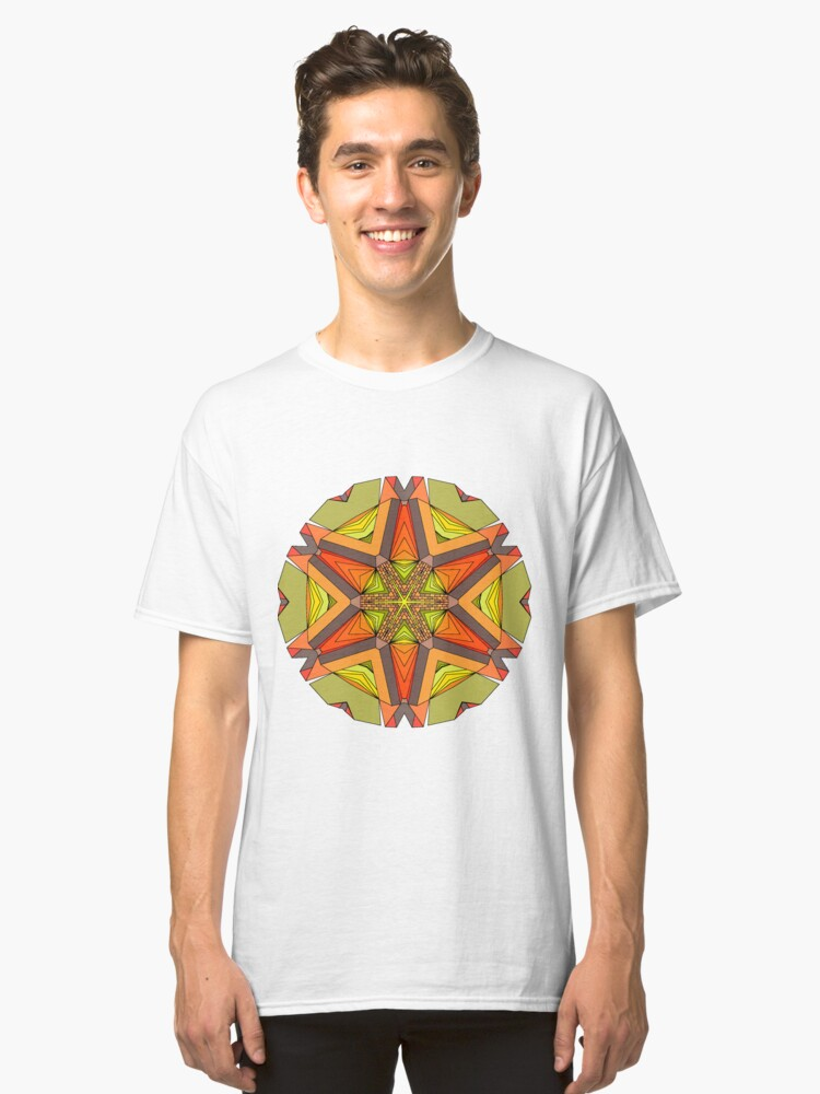 Earth Tones Star Mandala Classic T-Shirt Front