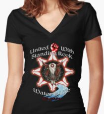 United With Standing Rock - Water is Life Women's Fitted V-Neck T-Shirt