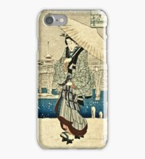 Ando Hiroshige - Eight Views Of Edo, Evening Snow At Asakusa, Date Unknown  iPhone Case/Skin