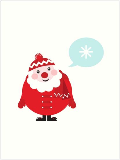 Cute vector cartoon Santa thinking by Bee and Glow Illustrations Shop