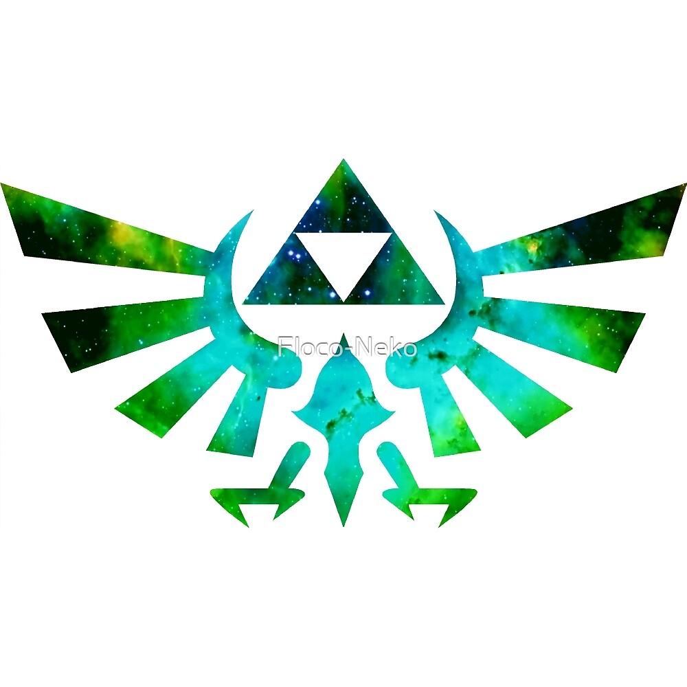Triforce - Zelda - Galaxy - Nebula - Green Blue by Floco-Neko