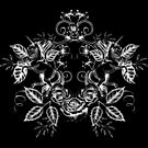 Unicorn Floral: White on Black by LCWaterworth