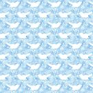 Songbird White Floral Silhouette on Blue Clouds by ThistleandFox